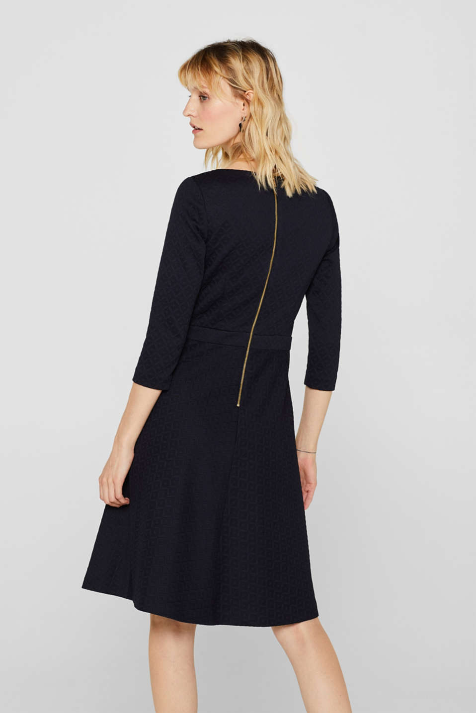 Textured stretch jersey dress, NAVY, detail image number 3