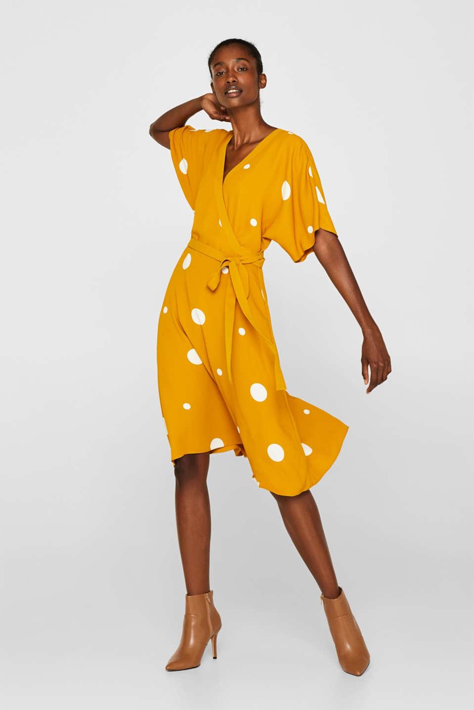 Polka dot midi dress, AMBER YELLOW, detail image number 1