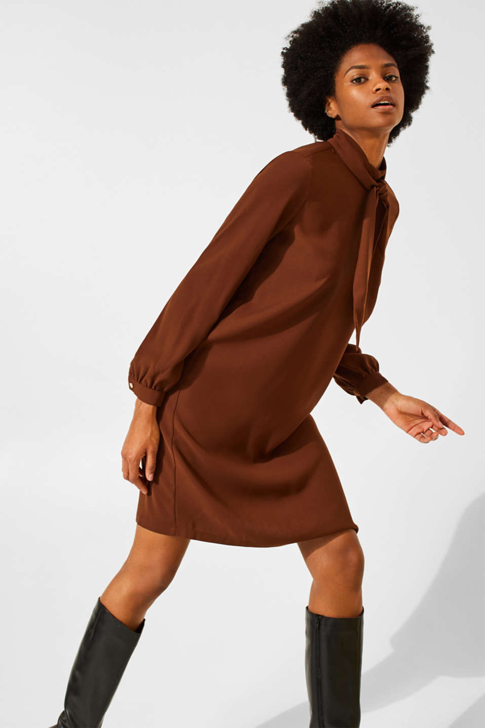 Dresses light woven, DARK BROWN, detail image number 0