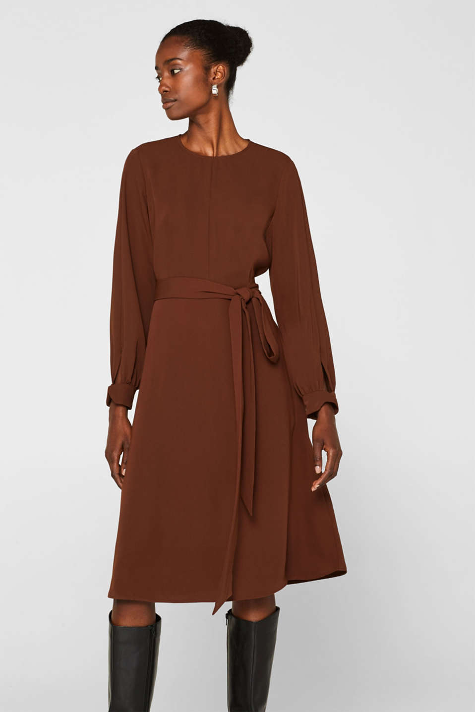 Midi dress with a wrap-over effect, DARK BROWN, detail image number 0