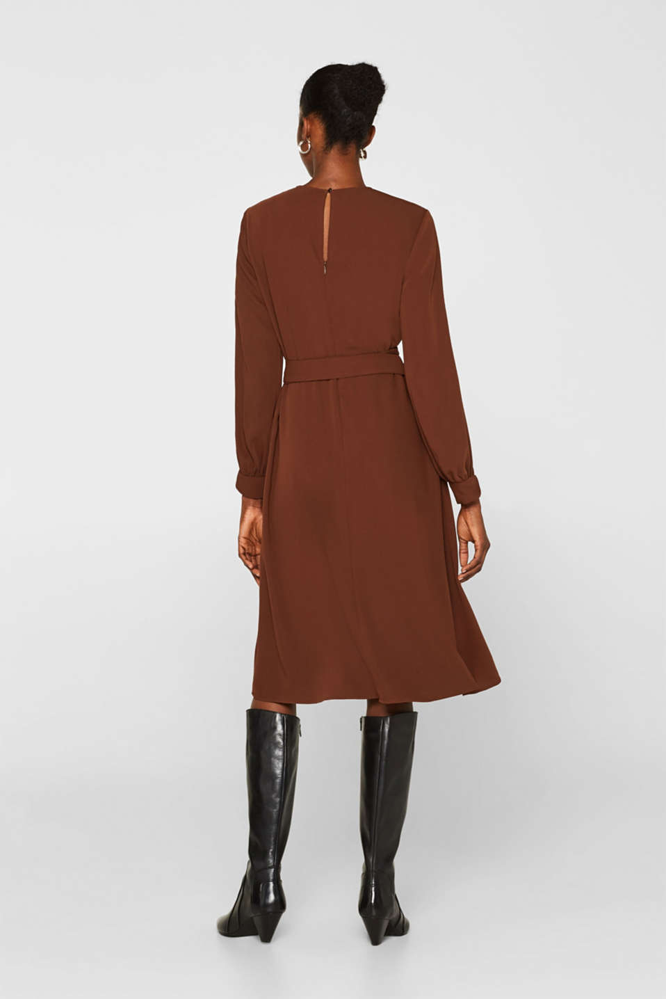 Midi dress with a wrap-over effect, DARK BROWN, detail image number 2