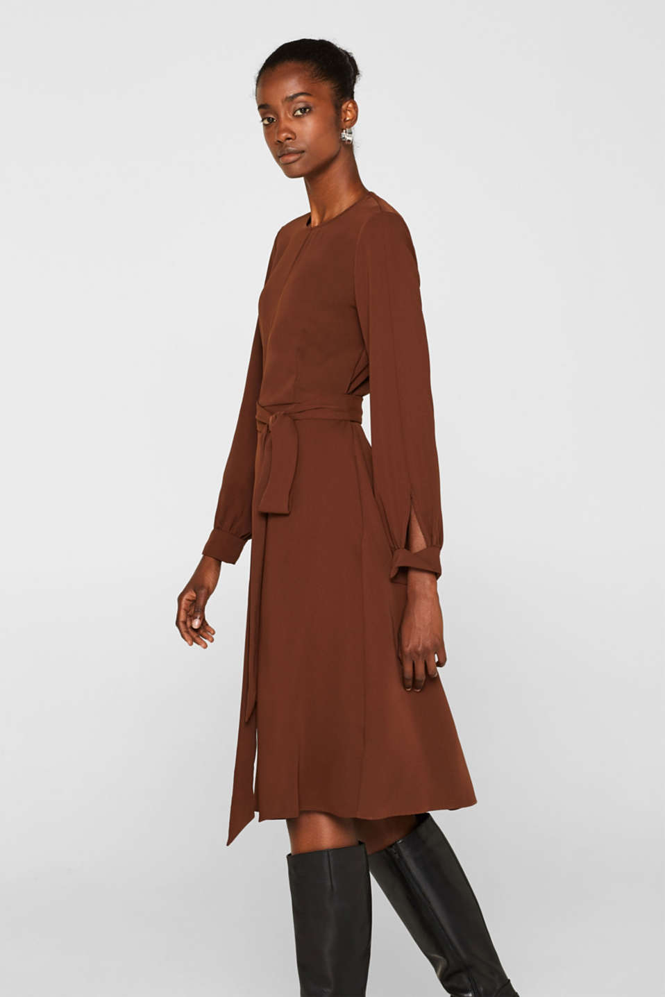 Midi dress with a wrap-over effect, DARK BROWN, detail image number 4