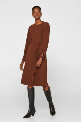 Midi dress with a wrap-over effect, DARK BROWN, detail
