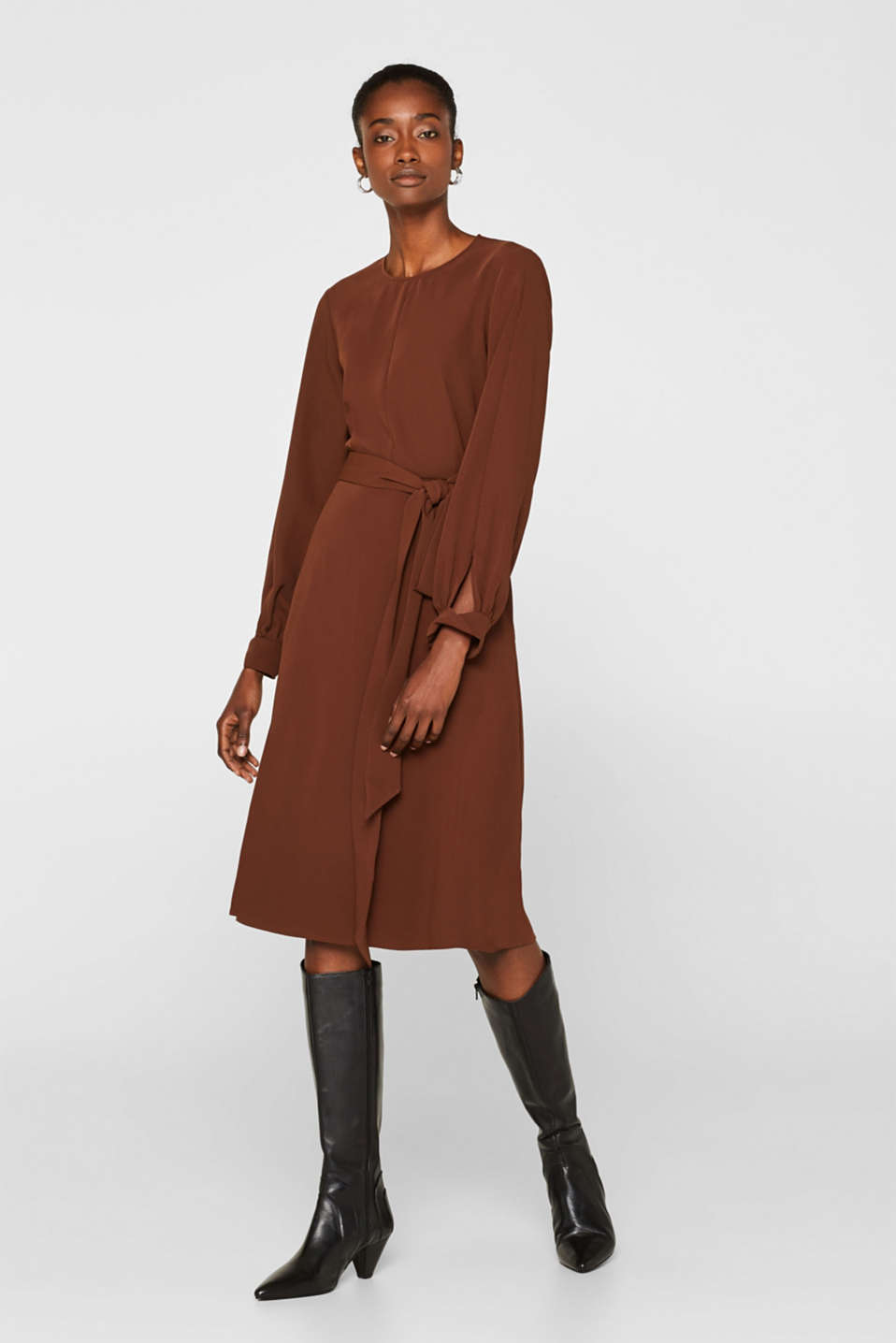 Midi dress with a wrap-over effect, DARK BROWN, detail image number 1