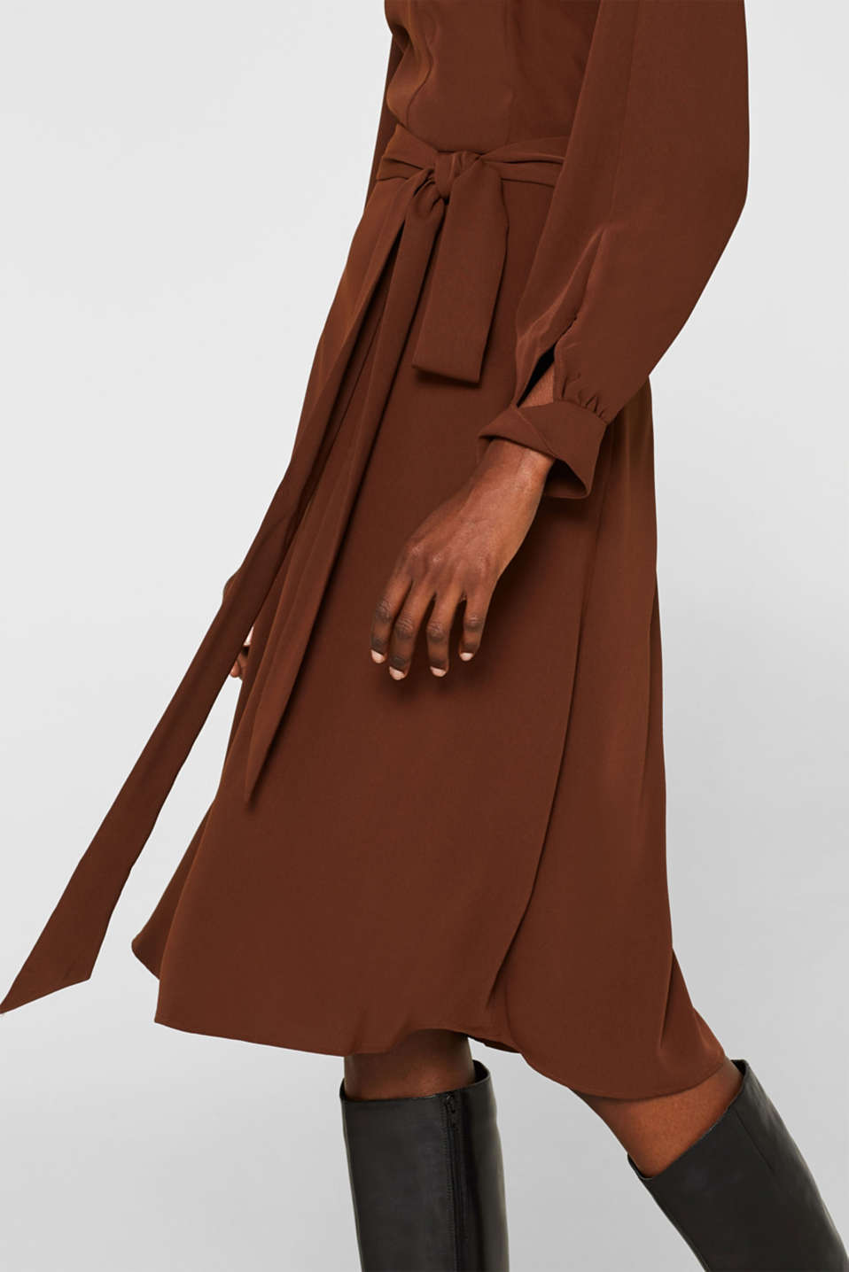 Midi dress with a wrap-over effect, DARK BROWN, detail image number 3