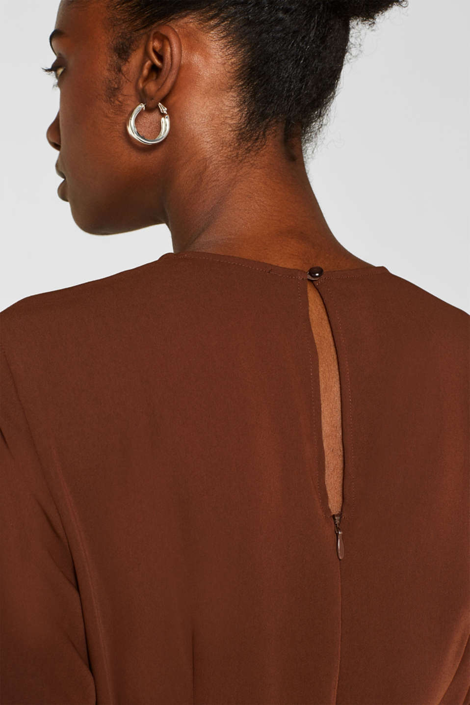 Midi dress with a wrap-over effect, DARK BROWN, detail image number 6