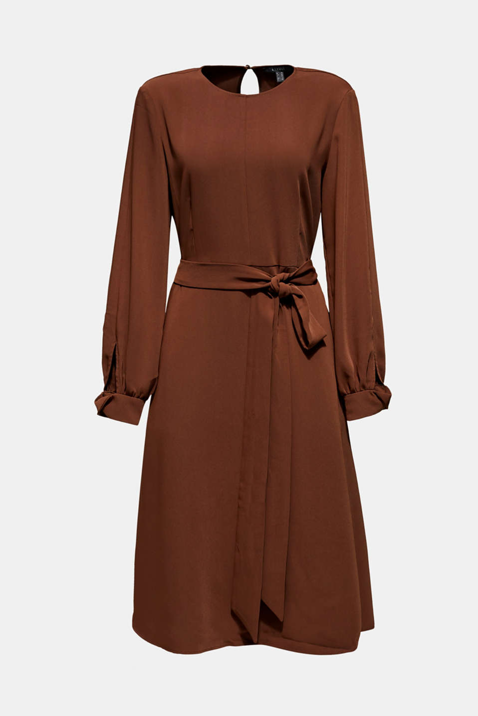 Midi dress with a wrap-over effect, DARK BROWN, detail image number 7