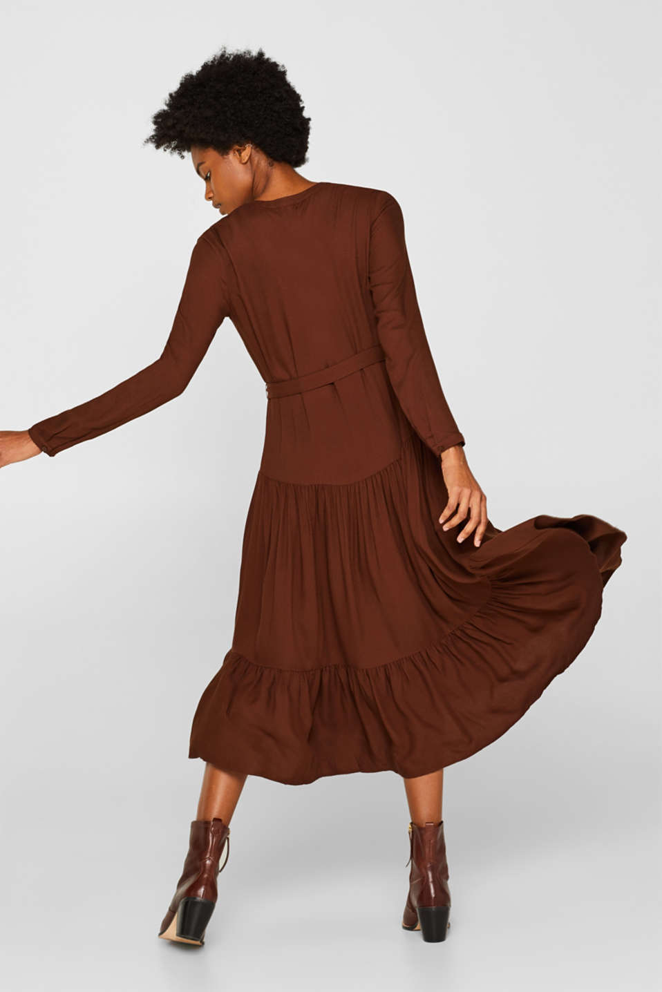 Midi dress with tiered skirt, DARK BROWN, detail image number 2