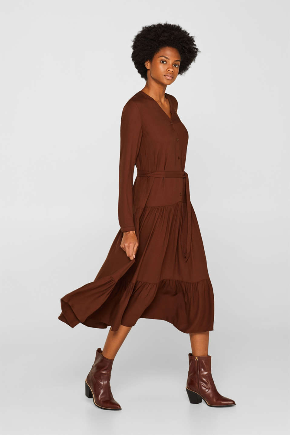 Midi dress with tiered skirt, DARK BROWN, detail image number 4