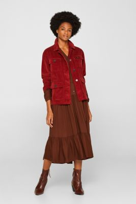 Midi dress with tiered skirt, DARK BROWN, detail