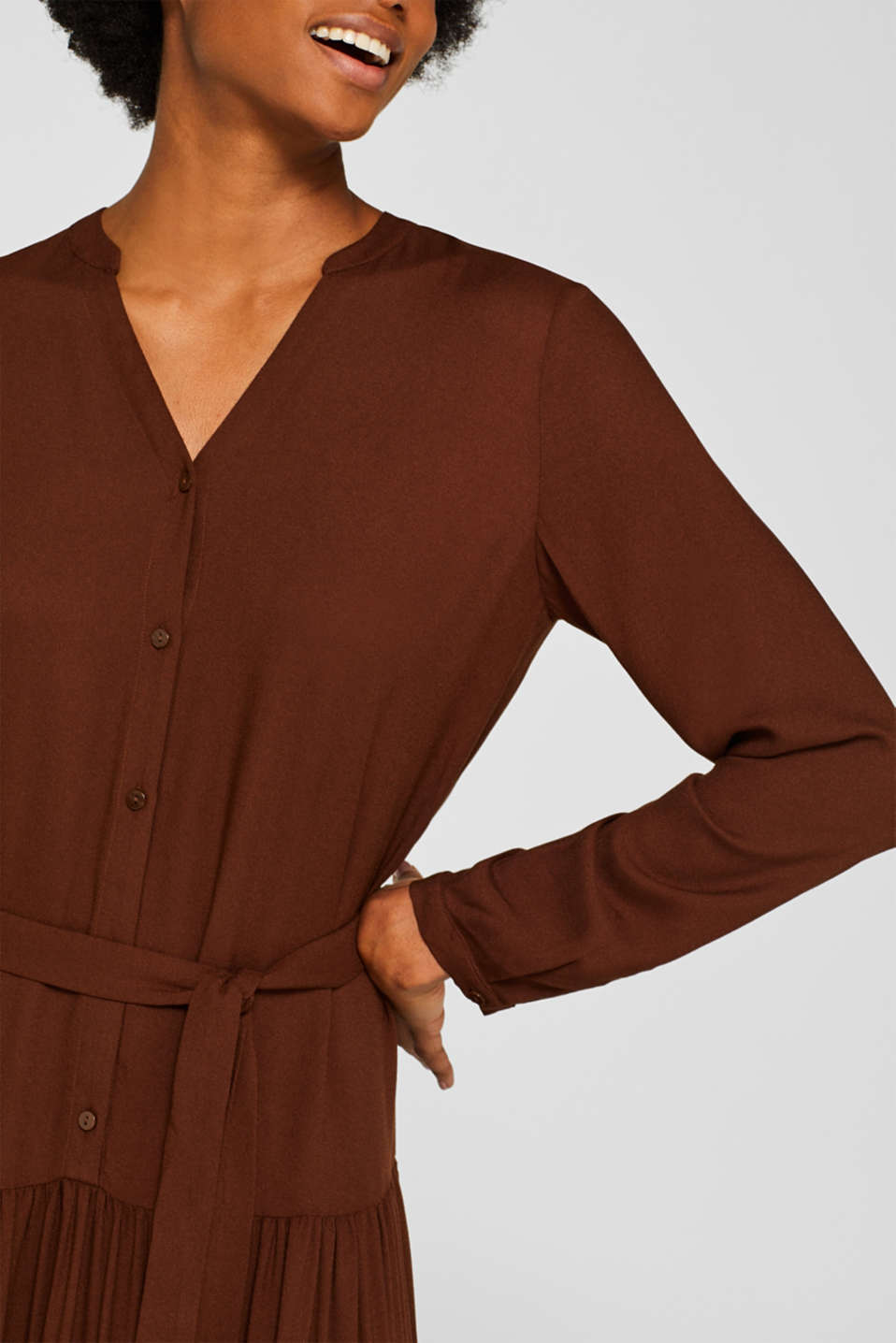 Midi dress with tiered skirt, DARK BROWN, detail image number 3