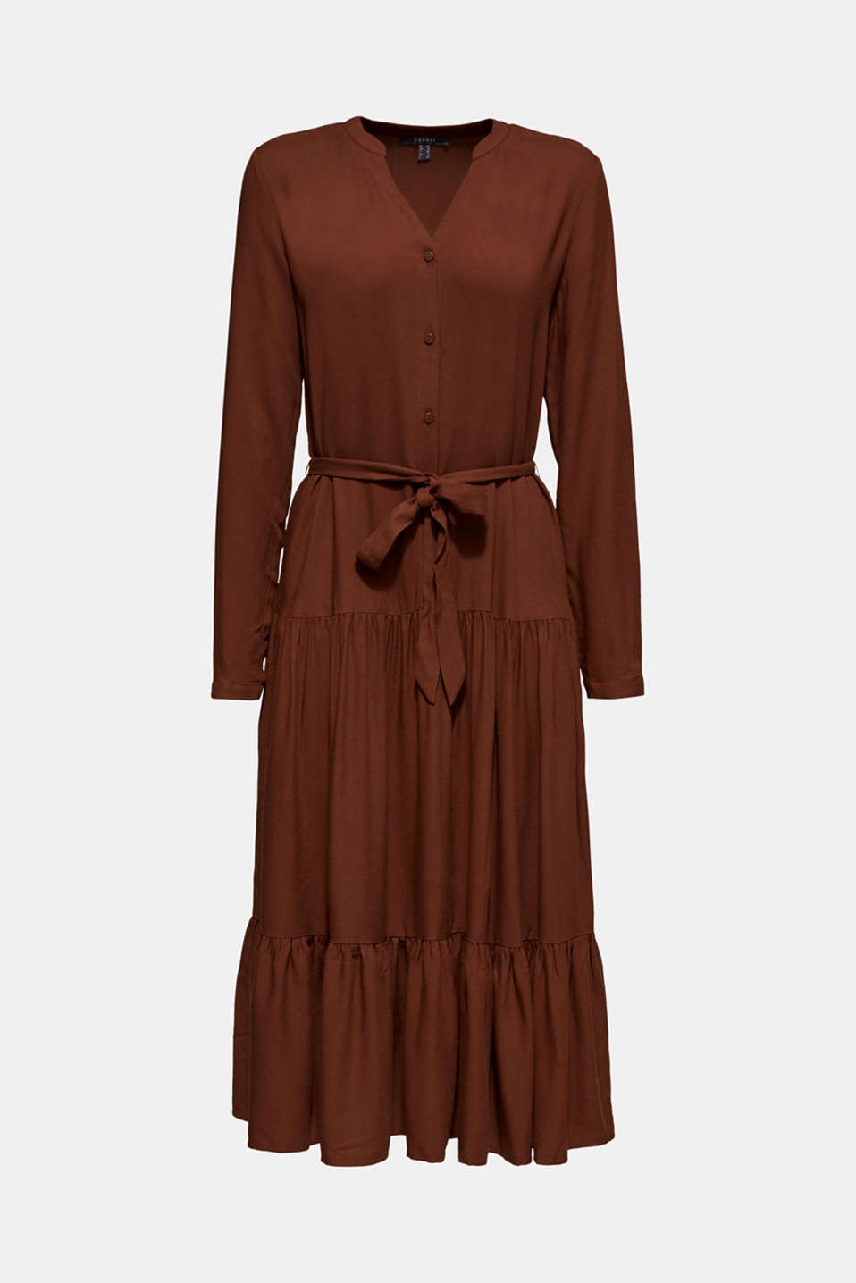Midi dress with tiered skirt, DARK BROWN, detail image number 6