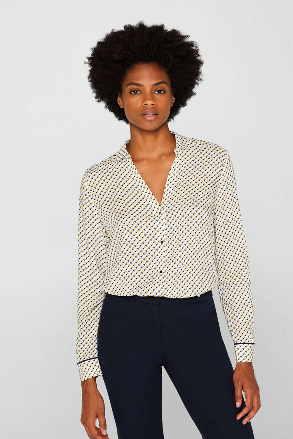 Minimal print blouse, OFF WHITE, detail image number 0