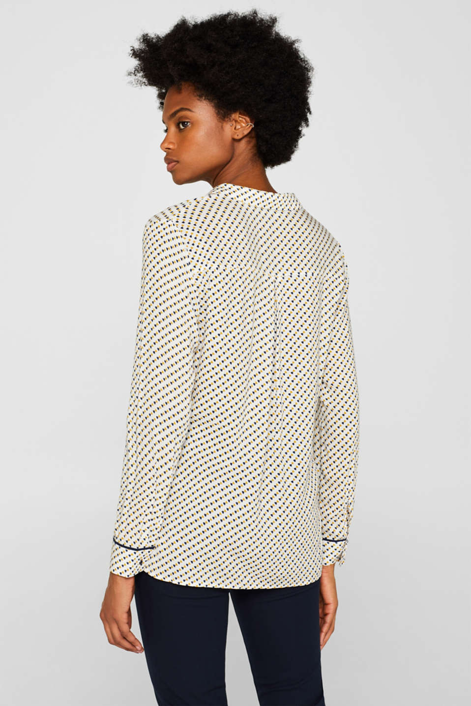 Minimal print blouse, OFF WHITE, detail image number 3