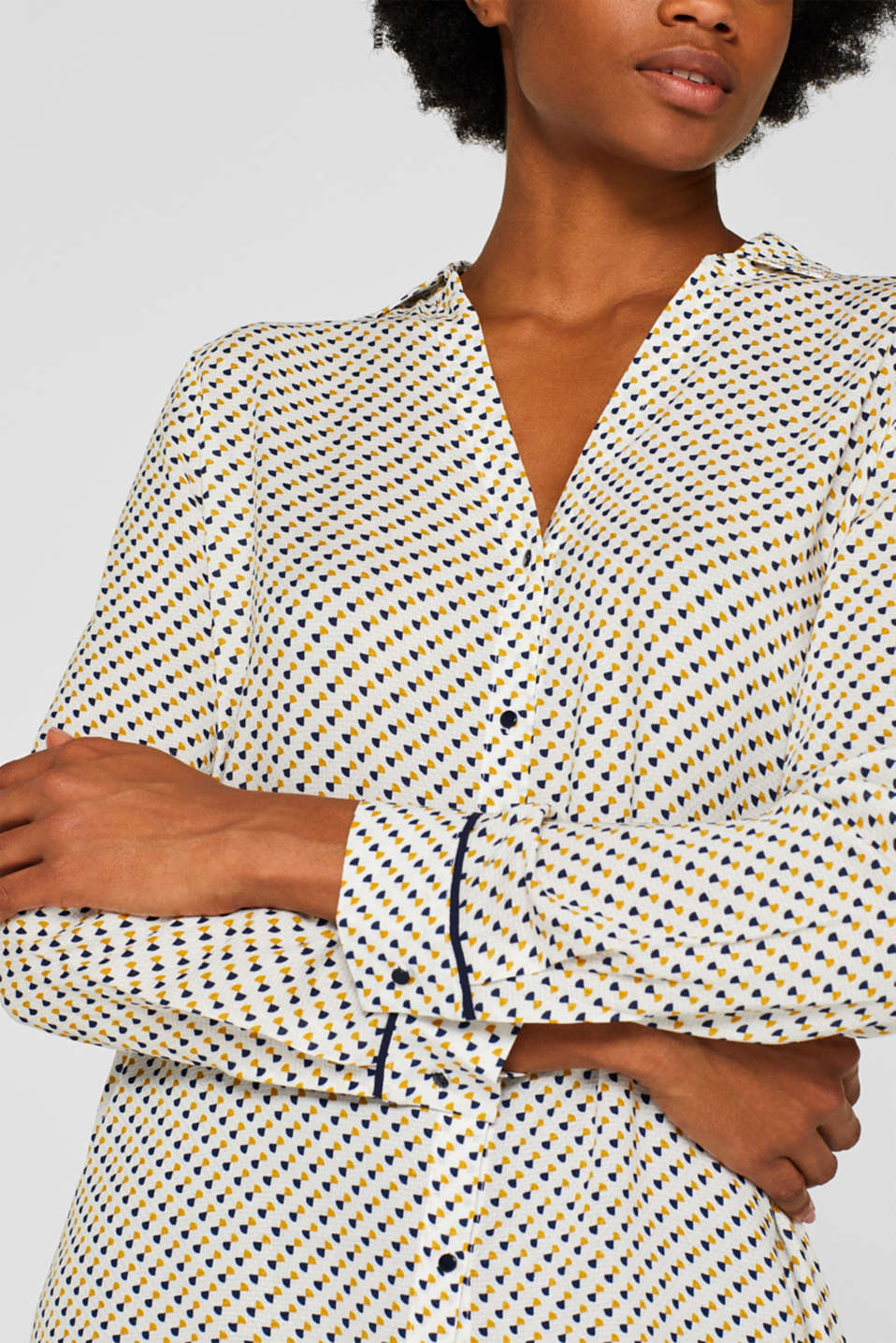 Minimal print blouse, OFF WHITE, detail image number 2