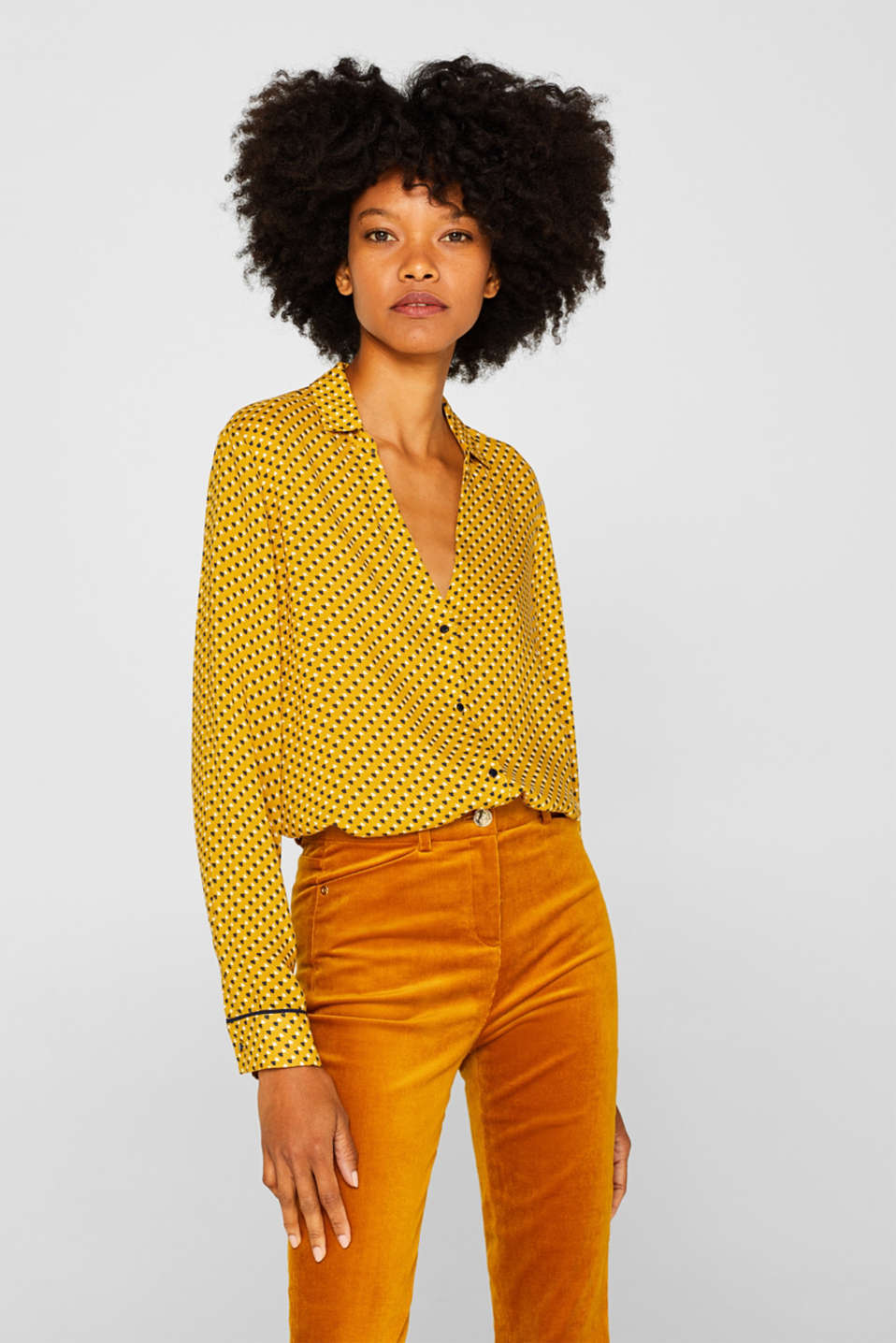 Minimal print blouse, AMBER YELLOW, detail image number 0