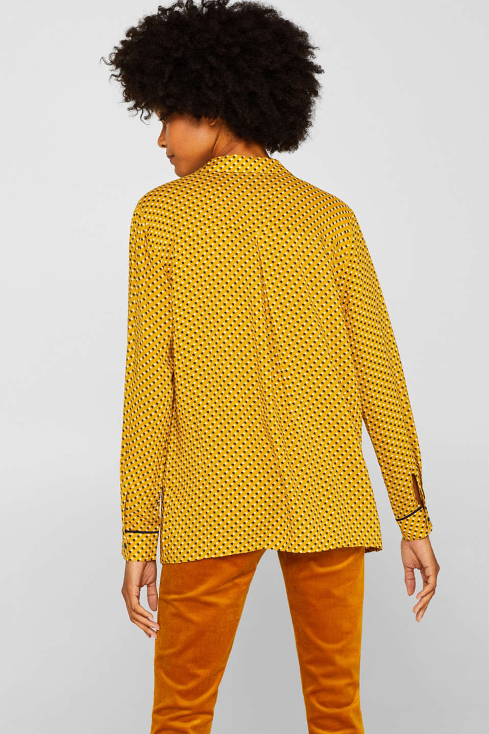 Minimal print blouse, AMBER YELLOW, detail image number 3