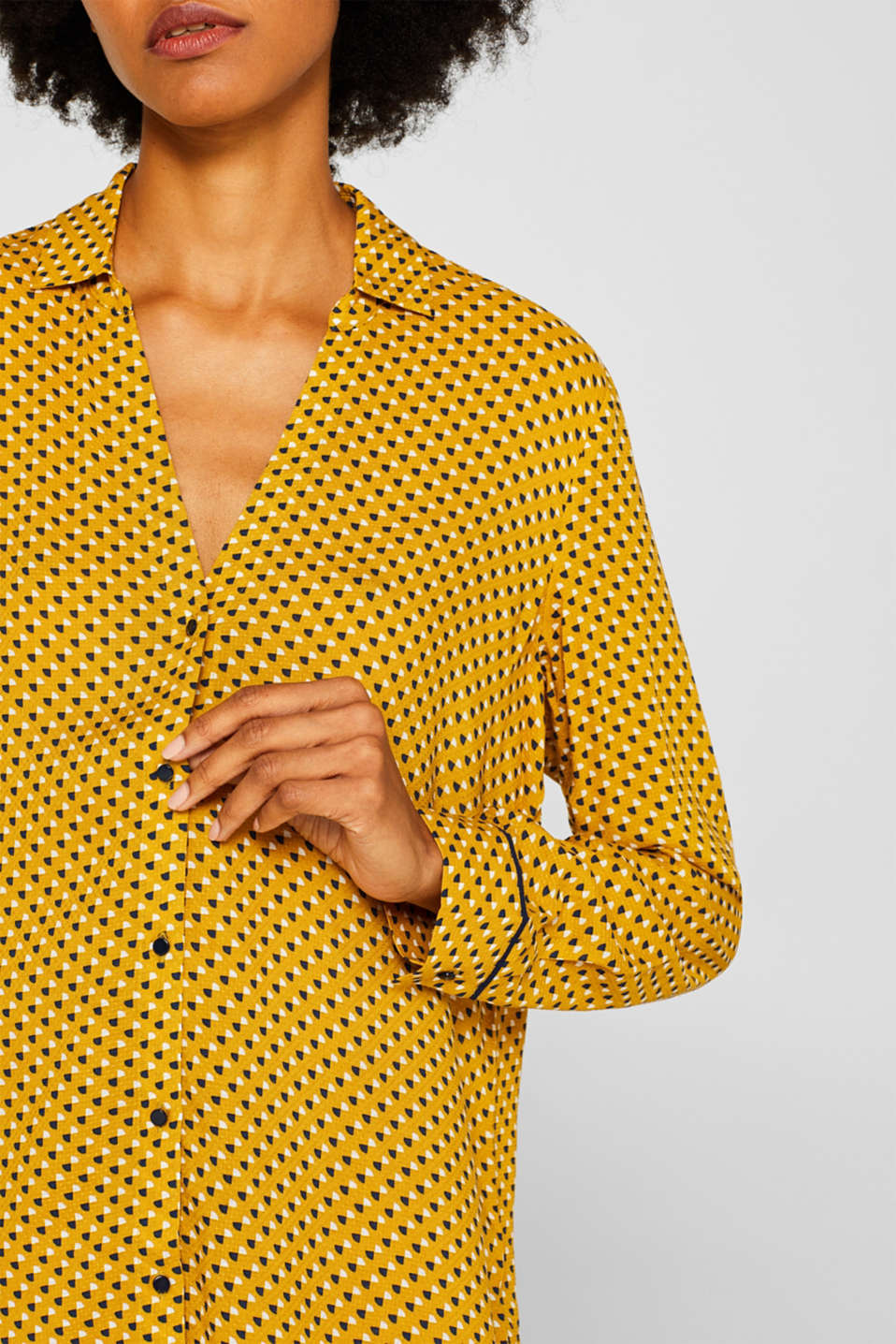 Minimal print blouse, AMBER YELLOW, detail image number 2