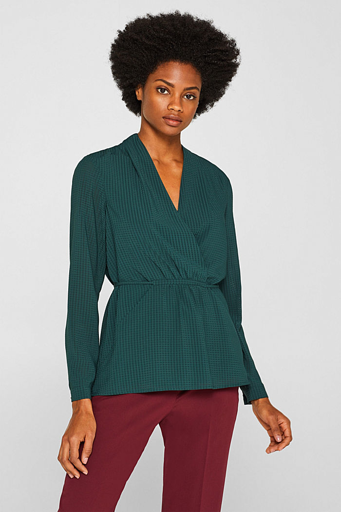 Wrap blouse with sheer check pattern, BOTTLE GREEN, detail image number 0