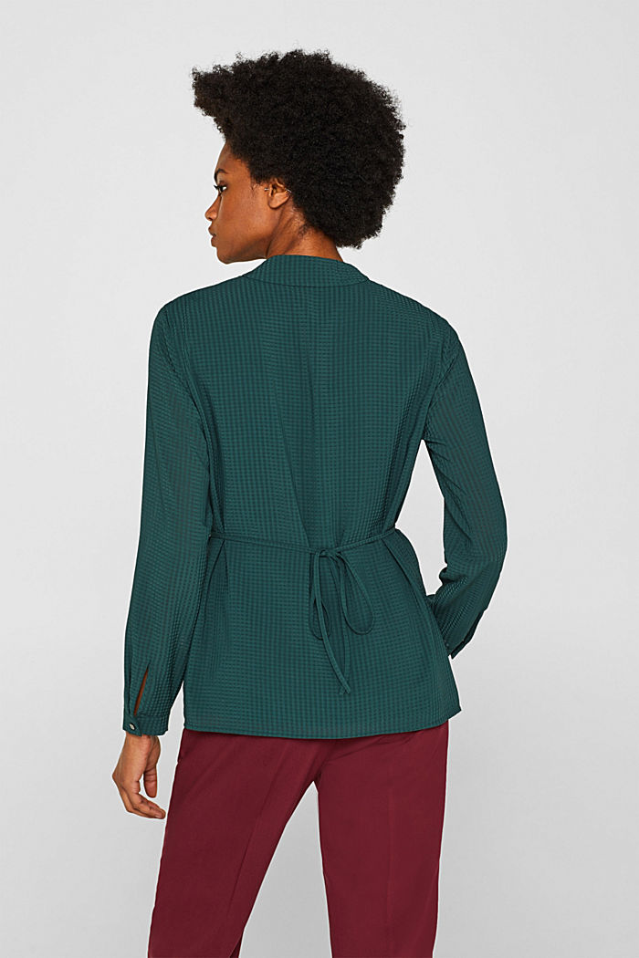 Wrap blouse with sheer check pattern, BOTTLE GREEN, detail image number 3