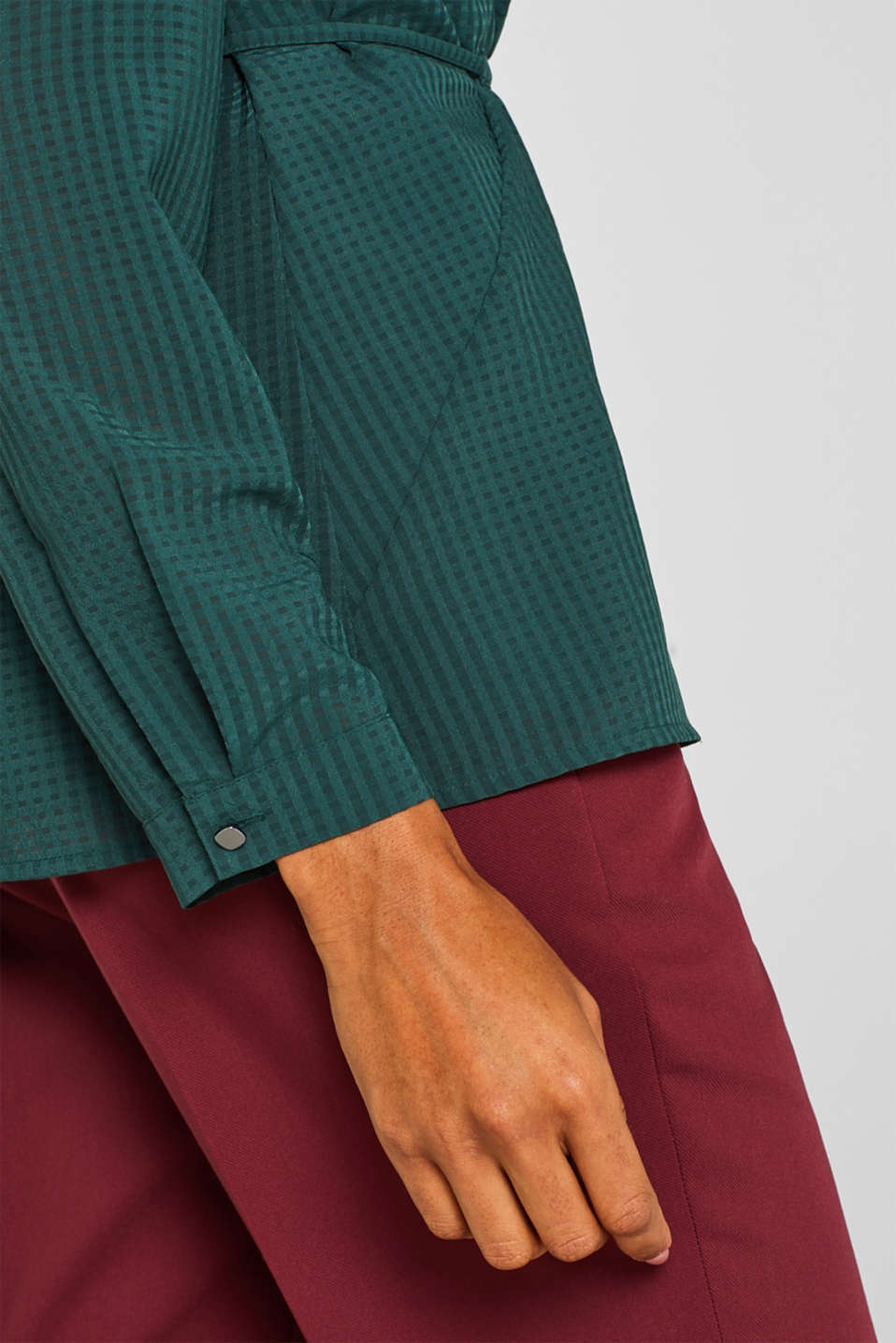 Wrap blouse with sheer check pattern, BOTTLE GREEN, detail image number 2