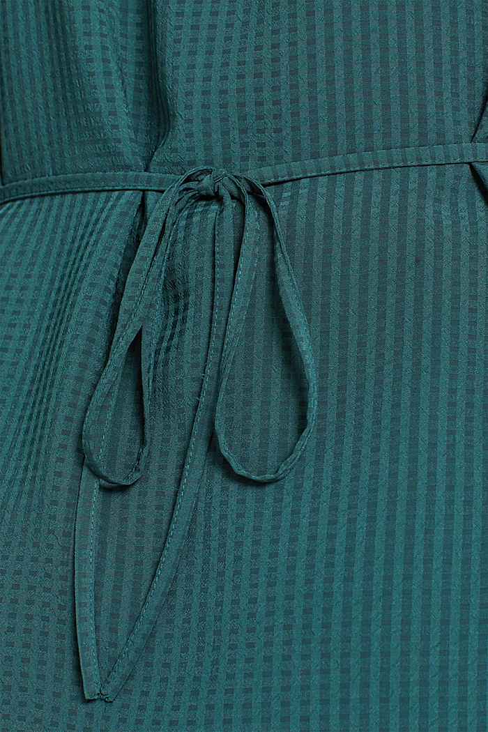 Wrap blouse with sheer check pattern, BOTTLE GREEN, detail image number 4