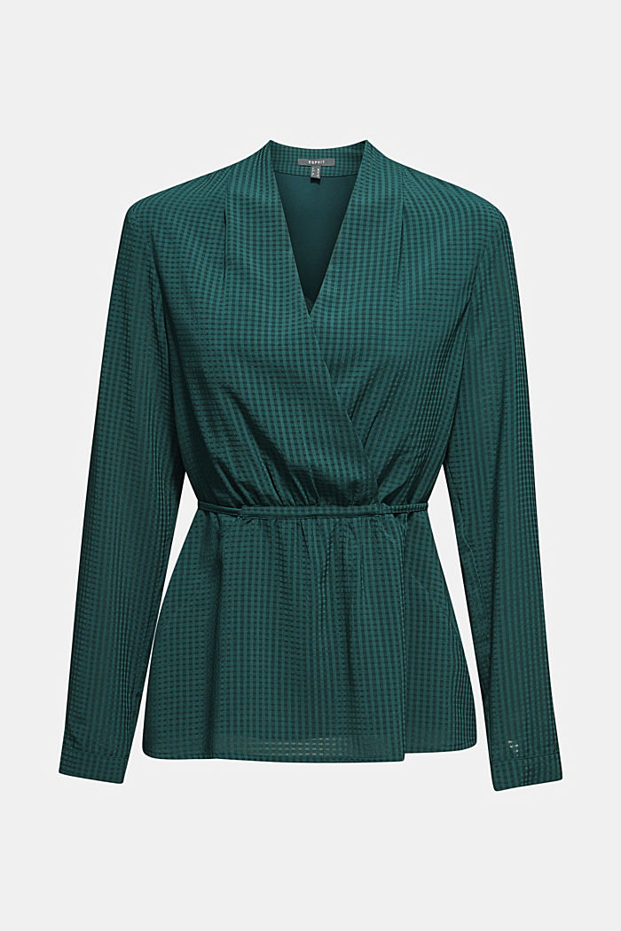 Wrap blouse with sheer check pattern, BOTTLE GREEN, detail image number 6