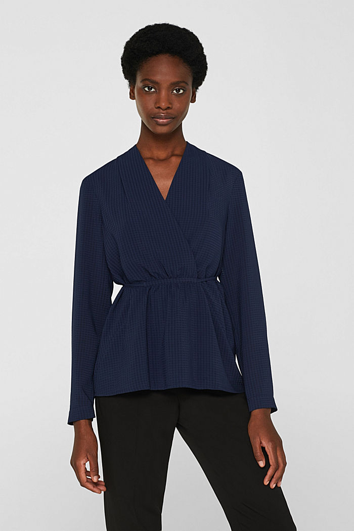Wrap blouse with sheer check pattern, NAVY, detail image number 0