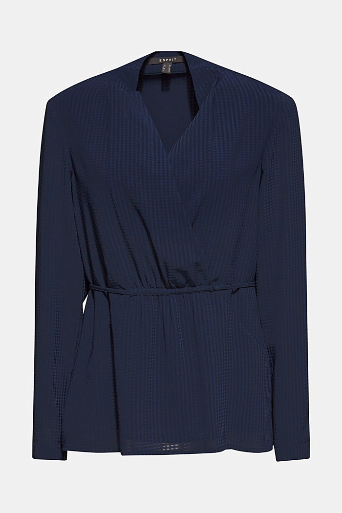Wrap blouse with sheer check pattern, NAVY, detail image number 5