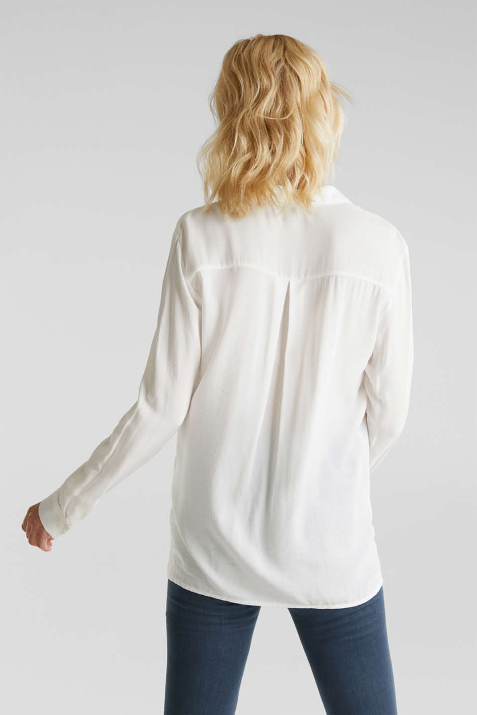 Textured shirt blouse, OFF WHITE, detail image number 3