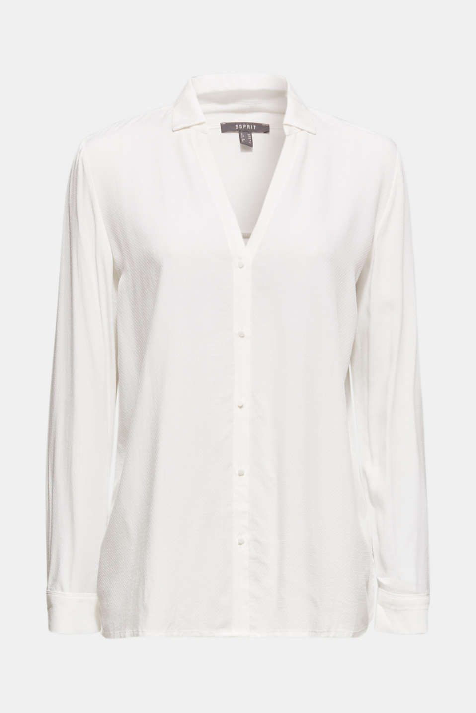 Textured shirt blouse, OFF WHITE, detail image number 6