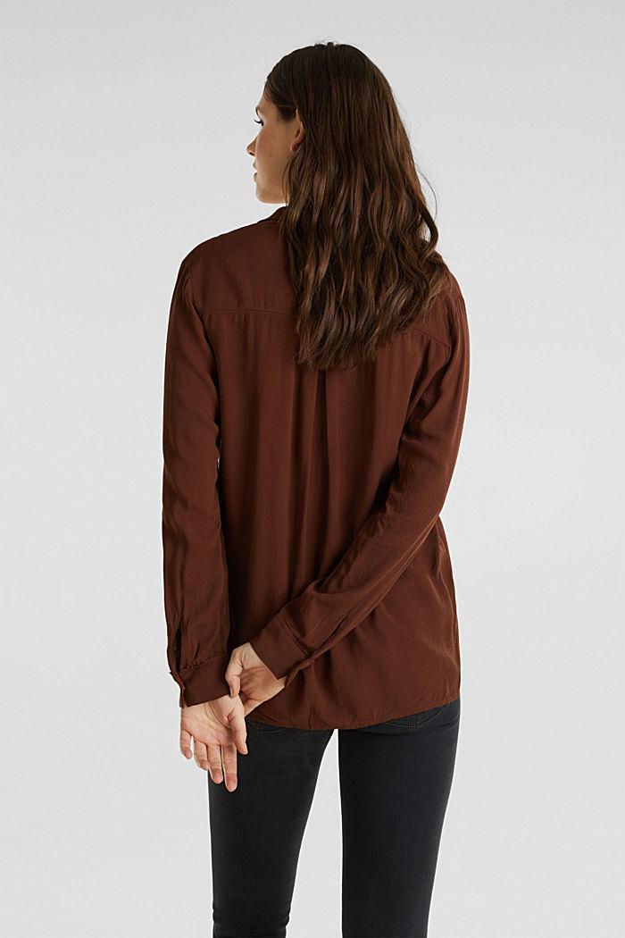 Textured shirt blouse, DARK BROWN, detail image number 2
