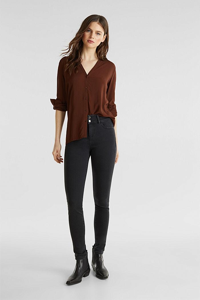 Textured shirt blouse, DARK BROWN, detail image number 0