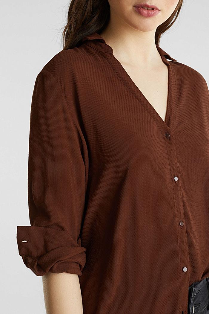 Textured shirt blouse, DARK BROWN, detail image number 1