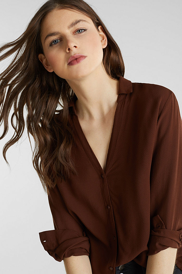 Textured shirt blouse, DARK BROWN, detail image number 4