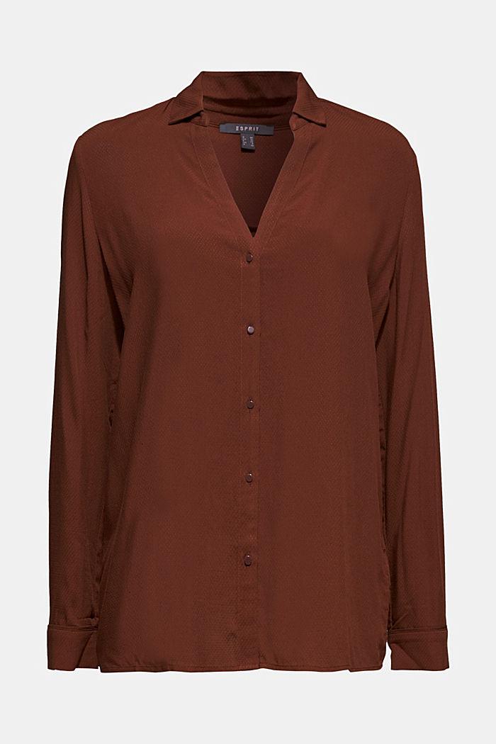 Textured shirt blouse, DARK BROWN, detail image number 5