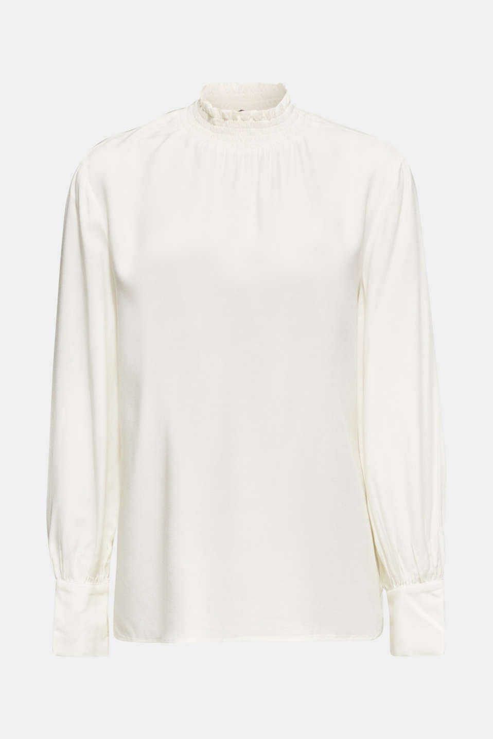 Crêpe blouse with smocked band collar, OFF WHITE, detail image number 6