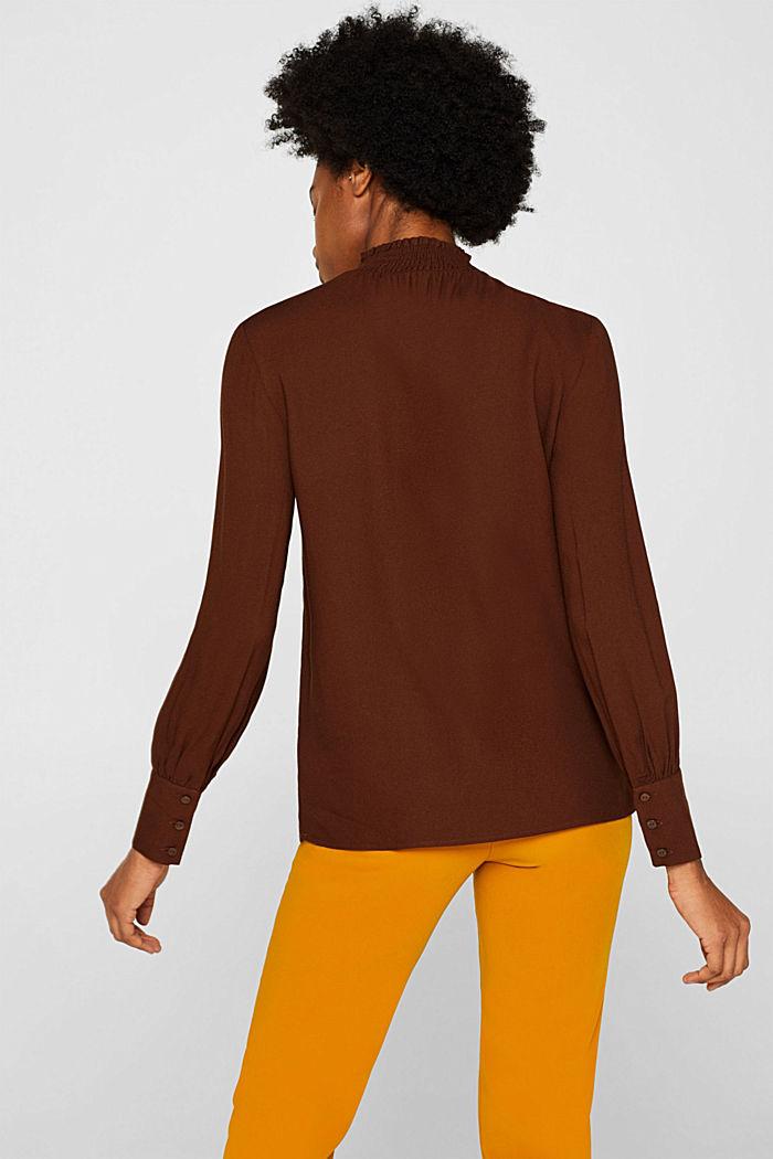 Crêpe blouse with smocked band collar, DARK BROWN, detail image number 3