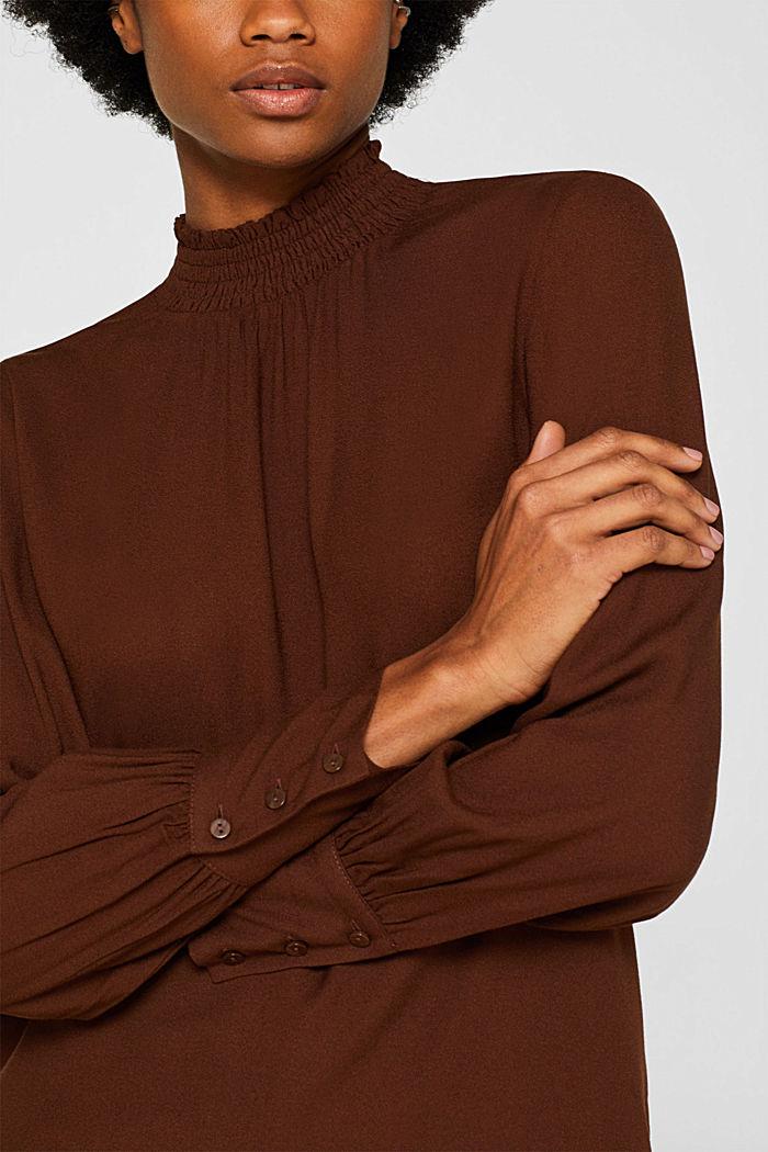 Crêpe blouse with smocked band collar, DARK BROWN, detail image number 2
