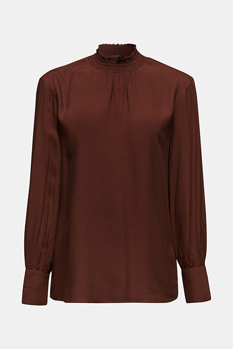 Crêpe blouse with smocked band collar