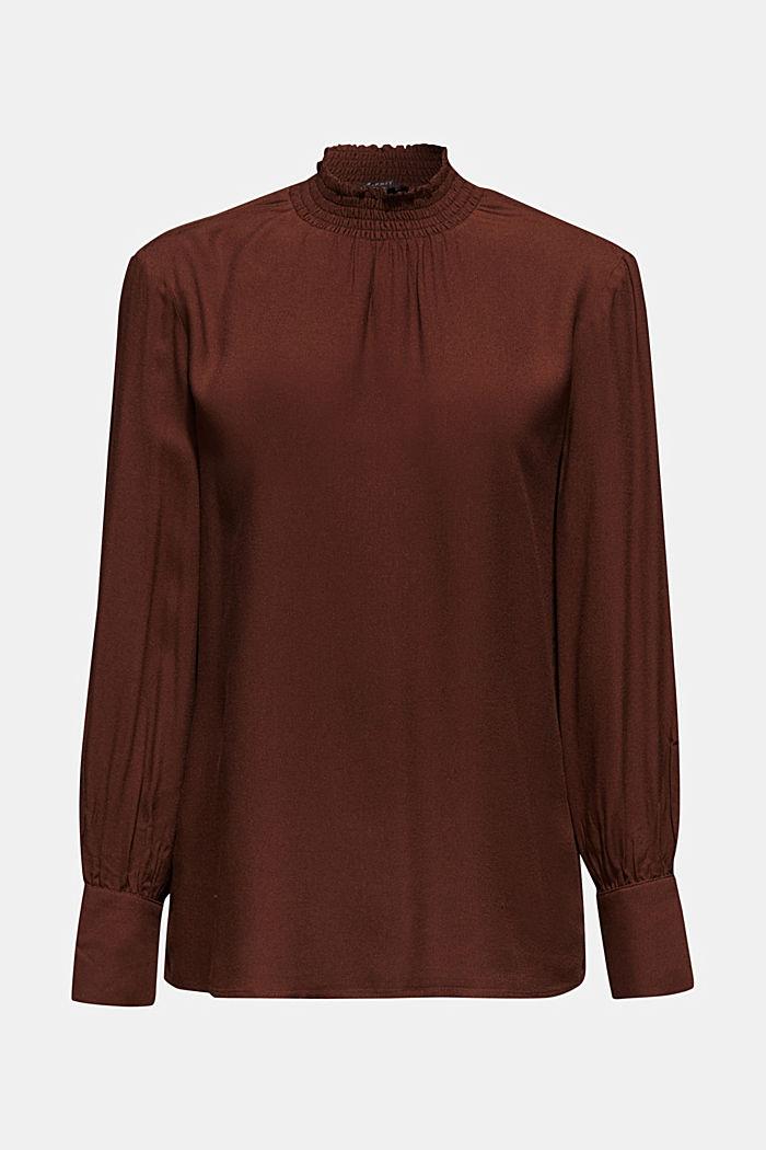 Crêpe blouse with smocked band collar, DARK BROWN, detail image number 6
