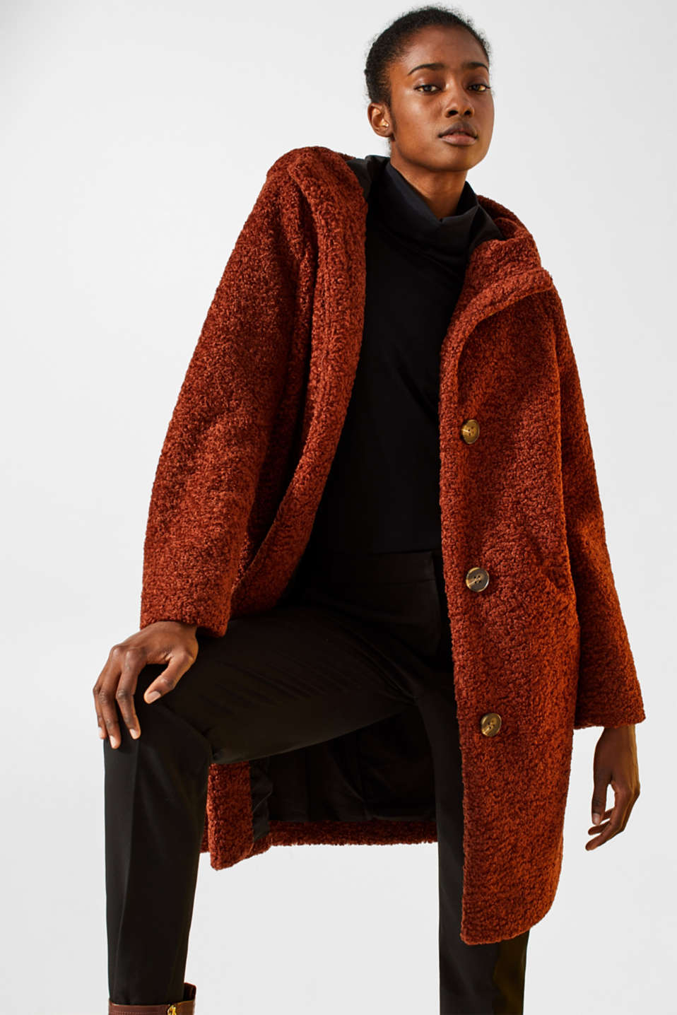 Esprit - Faux fur coat with a hood