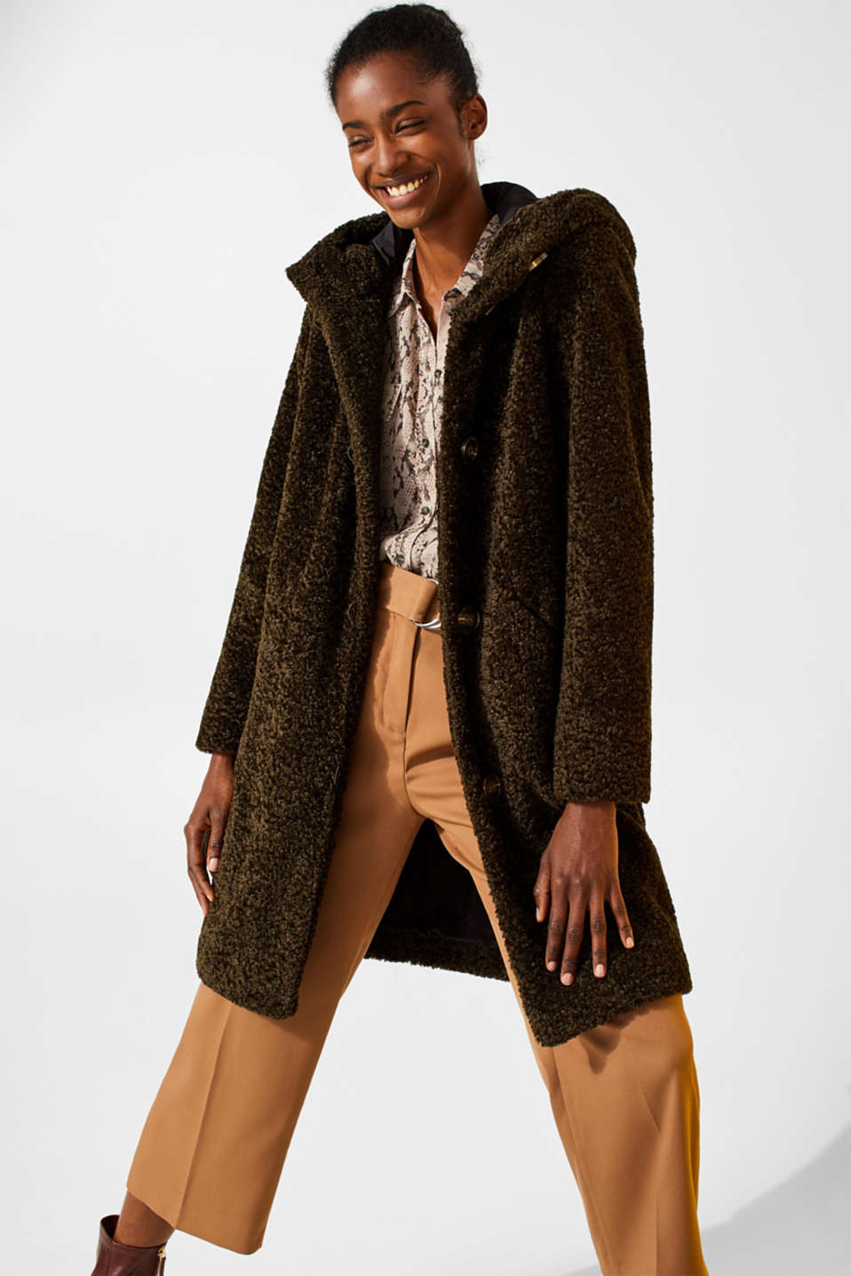 Faux fur coat with a hood