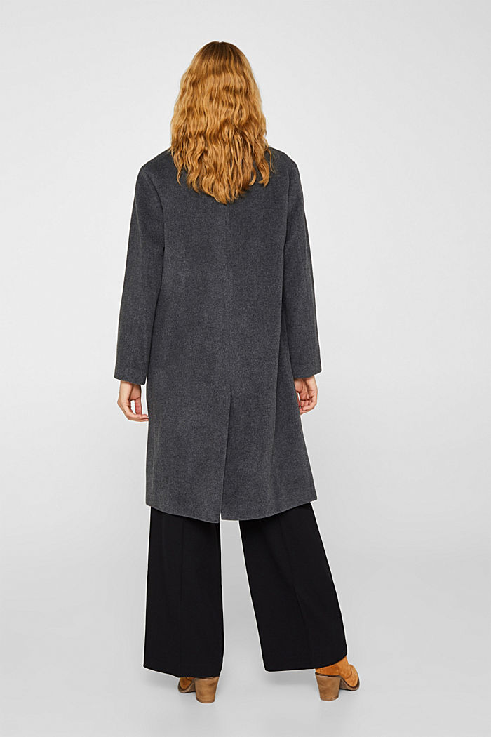With cashmere: Coat made of blended wool, GUNMETAL 5, detail image number 2