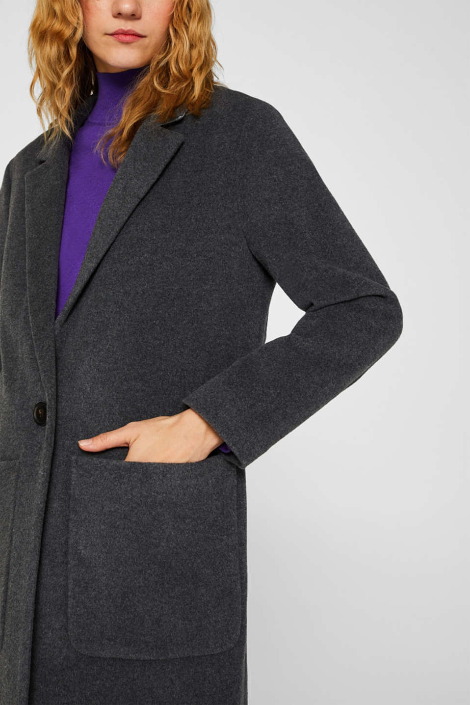With cashmere: Coat made of blended wool, GUNMETAL 5, detail image number 1