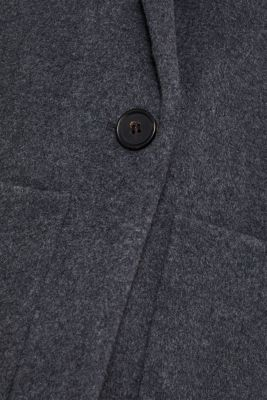 With cashmere: Coat made of blended wool, GUNMETAL 5, detail