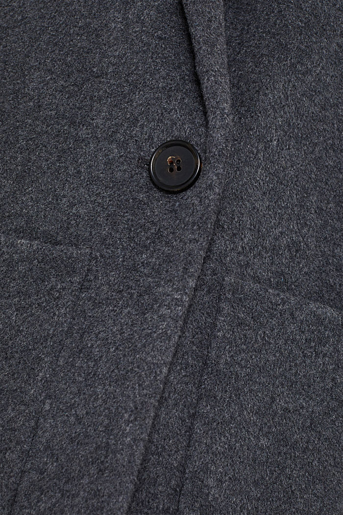 With cashmere: Coat made of blended wool, GUNMETAL 5, detail image number 3