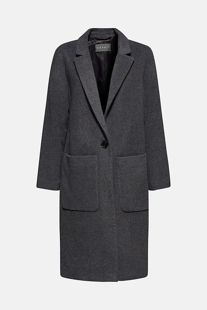 With cashmere: Coat made of blended wool, GUNMETAL 5, detail image number 5