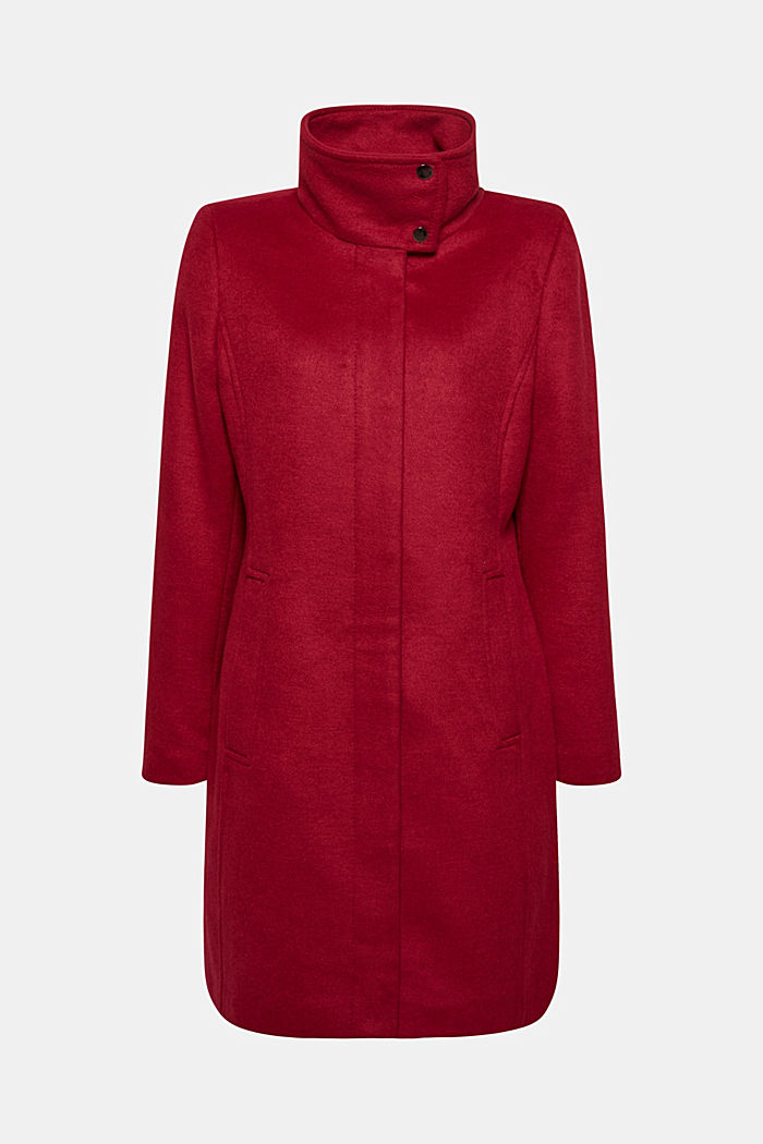 Wool blend: coat with a stand-up collar, DARK RED, detail image number 0