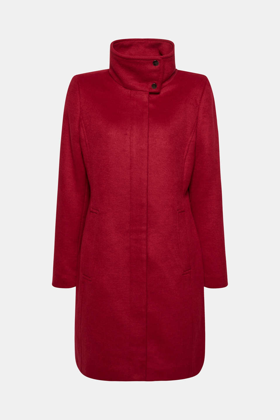 Esprit - Wool blend: coat with a stand-up collar